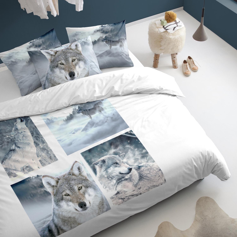 Damai Wolves dekbedovertrek – katoen – grey