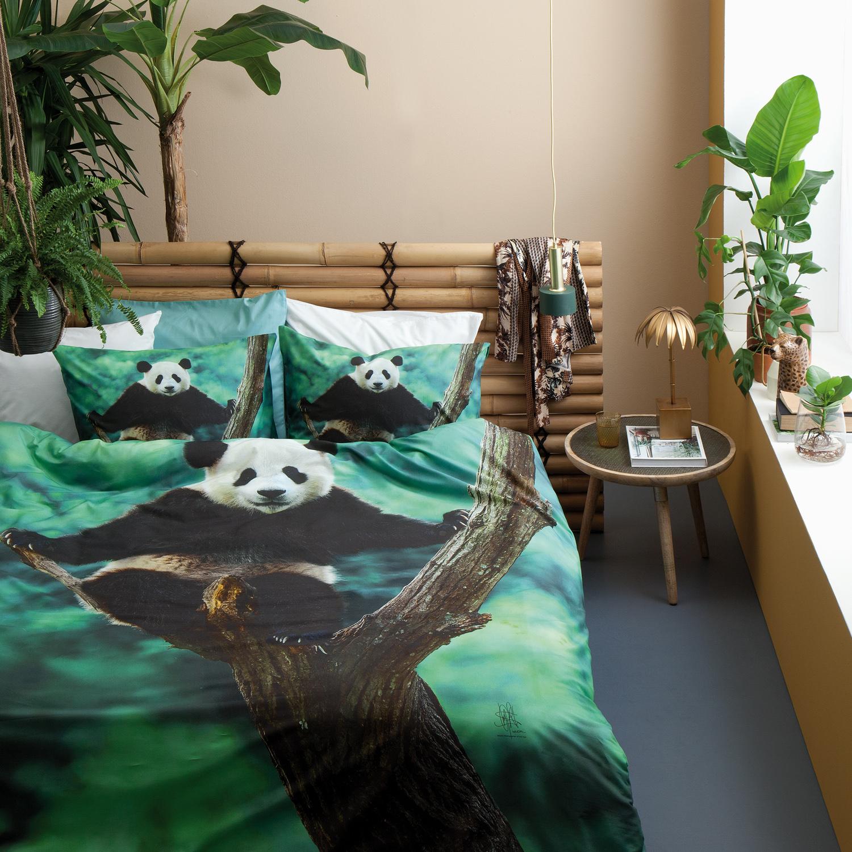 Damai Panda dekbedovertrek – Katoen – green